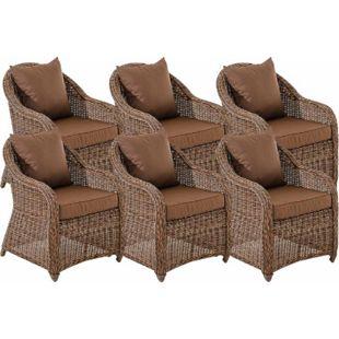 CLP 6er Set Sessel STAVANGER inklusive Sitzkissen I Robuster Gartenstuhl mit einem Untergestell aus Aluminium I 5mm starkes Polyrattan... braun-meliert, Terrabraun - Bild 1