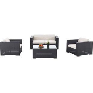 CLP Outdoor Lounge-Set Brac 2-1-1 Aus Aluminium & Wasserabweisender Stoff I Gartengarnitur Mit 4 Sitzplätzen I Loungesofa-Ecke Mit Tisch... grau - Bild 1