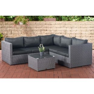 CLP Polyrattan Lounge-Set Liberi l Garten-Set Mit 5 Sitzplätzen l Garnitur Mit Aluminium-Gestell l Komplett-Set: 3er Sofa + 2er Sofa + Tisch - Bild 1