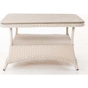 Lounge-Tisch Pandora I Tischplatte WPC Aus 5 MM Rattan Geflecht I Design Outdoor Tisch Mit Alu Gestell... perlweiß, 80x80 cm - Bild 1