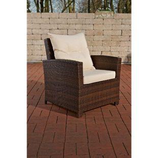 CLP Polyrattan-Sessel Fisolo Mit Sitzkissen I Gartenstuhl Mit Untergestell Aus Aluminium... braun-meliert, Cremeweiß - Bild 1