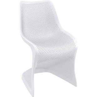 CLP Outdoor-Stuhl BLOOM-XXL aus Kunststoff I Pflegeleichter Freischwinger für den Garten I In verschiedenen Farben erhältlich... weiß - Bild 1