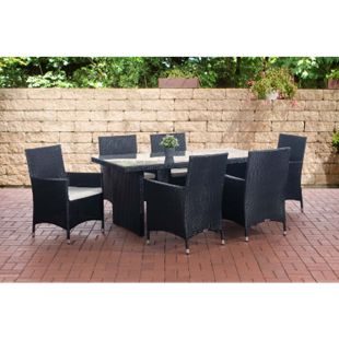 CLP Polyrattan Sitzgruppe AVIGNON (Tisch 180 x 90 cm + 6 x Polyrattan Stuhl Julia + Sitzauflagen), bis zu 5 Rattan-Farben + 5 Bezugsfarben wählbar - Bild 1