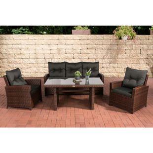 CLP Gartengarnitur FISOLO I Sitzgruppe mit 5 Sitzplätzen I Gartenmöbel-Set aus Polyrattan I Flachrattan | In verschiedenen Farben erhältlich - Bild 1
