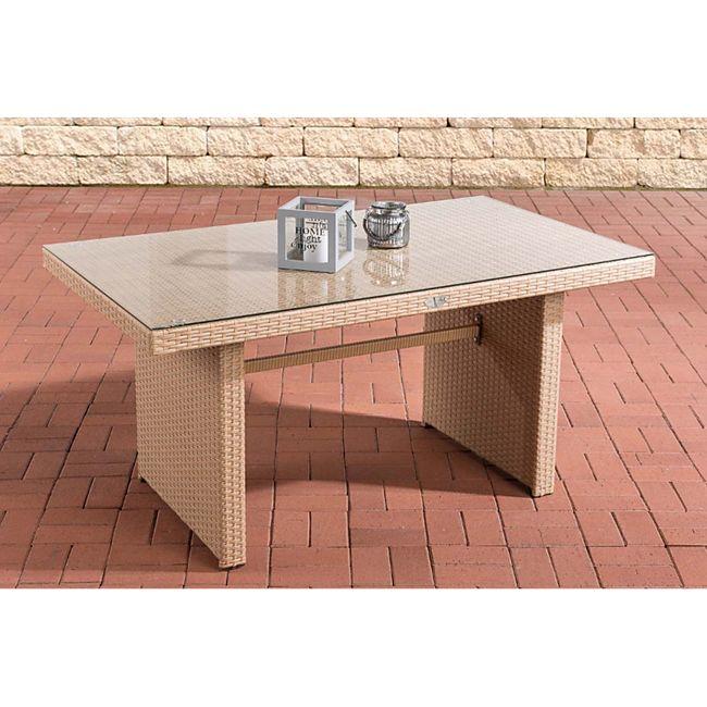 CLP Polyrattan-Gartentisch FISOLO mit einer Tischplatte aus Glas I Wetterbeständiger Tisch aus Kunststoff... sand - Bild 1