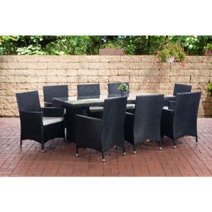 CLP Polyrattan-Sitzgruppe AVIGNON BIG | Garten-Set mit 8 Sitzplätzen | Komplett-Set bestehend aus: 1x Tisch und 8 Gartenstühlen inklusive Sitzauflagen | In verschiedenen Farben erhältlich - Bild 1
