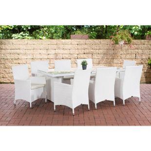 CLP Polyrattan-Sitzgruppe AVIGNON BIG | Garten-Set mit 8 Sitzplätzen | Komplett-Set bestehend aus: 1x Tisch und 8 Gartenstühlen und Sitzkissen... weiß, Cremeweiß - Bild 1