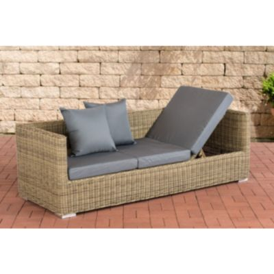 CLP Poly-Rattan Lounge-Sofa SOLANO 5 mm, ALU-Gestell, 3 er Sofa / Sonnenliege