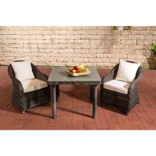 CLP Gartengarnitur SAN JUAN  | Set mit 2 Gartenstühlen und einem Esstisch 80 x 80 cm mit Milchglasplatte| Sitzgruppe mit 2 Sitzplätzen... grau-meliert, Cremeweiß - Bild 1