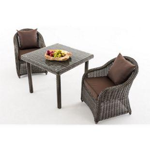 CLP Gartengarnitur SAN JUAN  | Set mit 2 Gartenstühlen und einem Esstisch 90 x 90 cm mit Klarglasplatte| Sitzgruppe mit 2 Sitzplätzen... grau-meliert, Terrabraun - Bild 1
