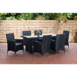 CLP Polyrattan Sitzgruppe Avignon I 1 x Tisch Und 6 x Polyrattan Stuhl Julia Mit Sitzauflagen | In Vielen Farben - Bild 1