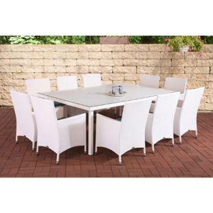 CLP Polyrattan-Sitzgruppe TROPEA | Garten-Set mit 10 Sitzplätzen | Komplett-Set bestehend aus: 10 x Polyrattan Stuhl und 1x Esstisch | In verschiedenen Farben erhältlich - Bild 1