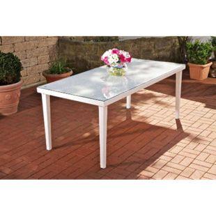 CLP Poly-Rattan Garten-Tisch BONDY, Esstisch 180 x 90 x 75 cm, mit Glasplatte, ideal für 6 Stühle, bis zu 3 Farben wählbar... weiß - Bild 1