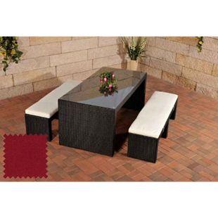 CLP Polyrattan-Gartenbar Coruna I Komplett-Set: 2 x Sitzbank Mit Sitzpolster Und 1 x Bartisch I Garten-Set Inklusive Sitzpolster... schwarz, Rubinrot - Bild 1