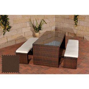 CLP Polyrattan-Gartenbar Coruna I Komplett-Set: 2 x Sitzbank Mit Sitzpolster Und 1 x Bartisch I Garten-Set Inklusive Sitzpolster... braun-meliert, Terrabraun - Bild 1
