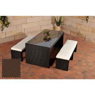 CLP Polyrattan-Gartenbar Coruna I Komplett-Set: 2 x Sitzbank Mit Sitzpolster Und 1 x Bartisch I Garten-Set Inklusive Sitzpolster... schwarz, Terrabraun - Bild 1