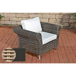 Polyrattan-Sessel Vivari Mit Sitz- Und Rückenkissen I Outdoor-Stuhl Mit Untergestell Aus Aluminium... perlweiß, Anthrazit - Bild 1