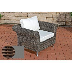 Polyrattan-Sessel Vivari Mit Sitz- Und Rückenkissen I Outdoor-Stuhl Mit Untergestell Aus Aluminium... braun-meliert, Eisengrau - Bild 1