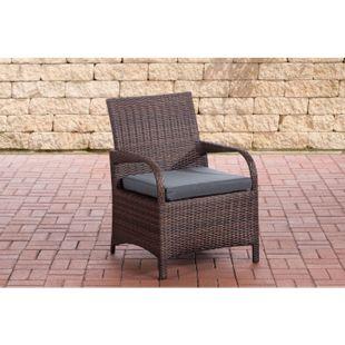 CLP Polyrattan-Gartenstuhl PIZZO mit Sitzkissen I Outdoor-Stuhl mit robustem Untergestell aus Aluminium - Bild 1