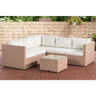 CLP Polyrattan Lounge-Set Genero l Garten-Set Mit 5 Sitzplätzen l Komplett-Set: 3er Sofa + 2er Sofa + Tisch I Garnitur Mit Aluminium-Gestell... sand, Cremeweiß - Bild 1