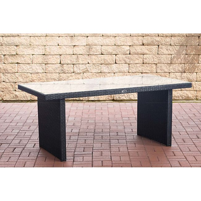 CLP Polyrattan Tisch Avignon I Gartentisch Aus Flachrattan I Esstisch In Verschiedenen Größen... schwarz, 180 cm - Bild 1