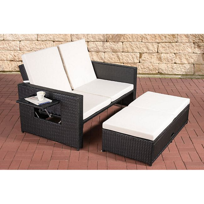 clp polyrattan 2er loungesofa ancona i garten sofa mit ausziehbarem fu teil und verstellbarer. Black Bedroom Furniture Sets. Home Design Ideas