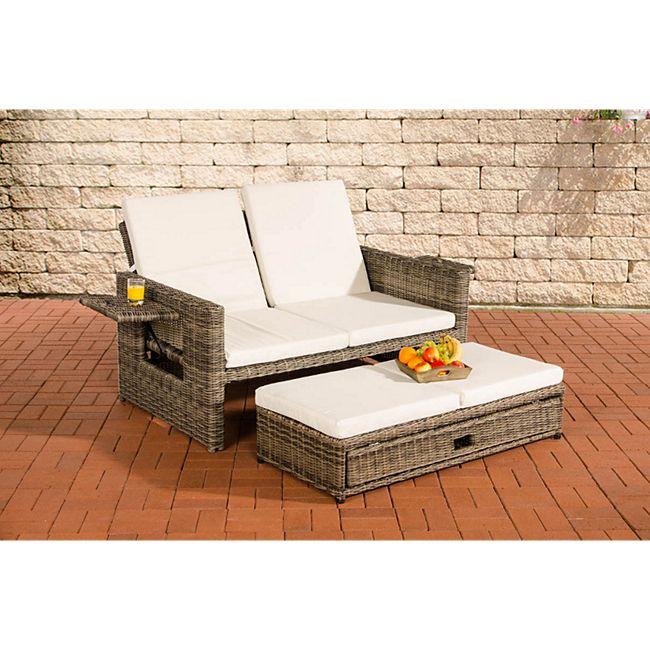 CLP Polyrattan 2er Loungesofa ANCONA I Rundrattan Garten-Sofa mit  ausziehbarem Fußteil und verstellbarer Rückenlehne