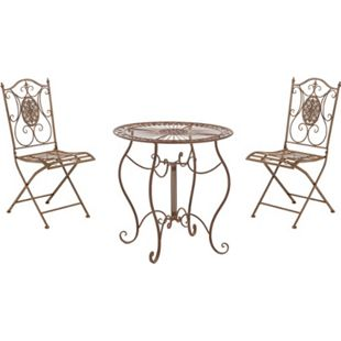 CLP Garten-Sitzgruppe Aldeano Aus Eisen I Pflegeleichtes Gartenmöbel-Set: 2 x Klappstuhl Und 1 x Tisch... antik braun - Bild 1