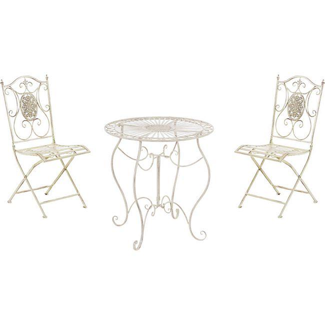 CLP Garten-Sitzgruppe Aldeano Aus Eisen I Pflegeleichtes Gartenmöbel-Set: 2 x Klappstuhl Und 1 x Tisch - Bild 1