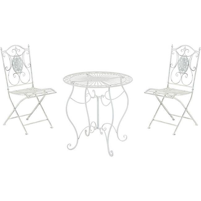 CLP Garten-Sitzgruppe Aldeano Aus Eisen I Pflegeleichtes Gartenmöbel-Set: 2 x Klappstuhl Und 1 x Tisch... antik weiß - Bild 1