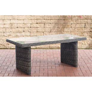 CLP Polyrattan-Tisch FONTANA mit einer Tischplatte aus Glas I Wetterbeständiger pflegeleichter Tisch... grau-meliert - Bild 1