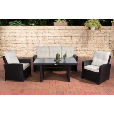 CLP Gartengarnitur FISOLO I Sitzgruppe mit 5 Sitzplätzen I Gartenmöbel-Set aus Polyrattan I Flachrattan In verschiedenen