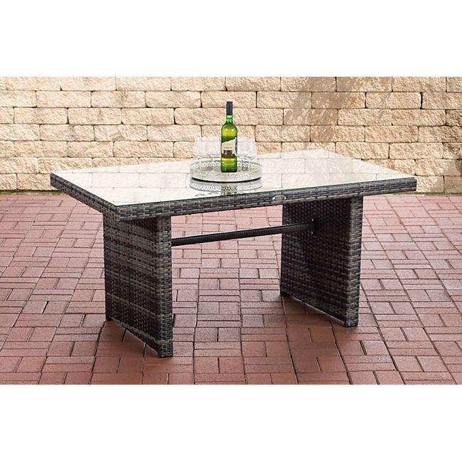 CLP Polyrattan-Gartentisch FISOLO mit einer Tischplatte aus Glas I Wetterbeständiger Tisch aus Kunststoff... grau-meliert - Bild 1