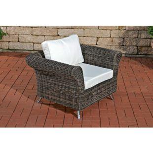CLP Polyrattan-Sessel Vivari Mit Sitz- Und Rückenkissen I Outdoor-Stuhl Mit Untergestell Aus Aluminium... grau-meliert, Cremeweiß - Bild 1