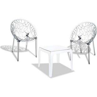 CLP Outdoor-Sitzgruppe Arendal I 2 Stapelbare Stühle Und 1 Stapelbarer Tisch I Gartenmöbel Aus Pflegeleichtem Kunststoff... transparent - Bild 1