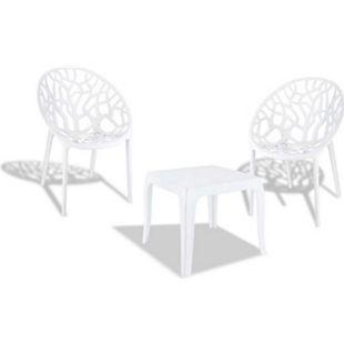 CLP Outdoor-Sitzgruppe Arendal I 2 Stapelbare Stühle Und 1 Stapelbarer Tisch I Gartenmöbel Aus Pflegeleichtem Kunststoff... weiß glanz - Bild 1