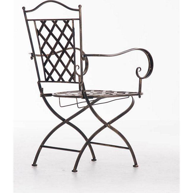 CLP Eisenstuhl ADARA im Jugendstil I Outdoor-Stuhl mit Armlehnen I Handgefertigter Gartenstuhl aus Eisen I In verschiedenen Farben erhältlich