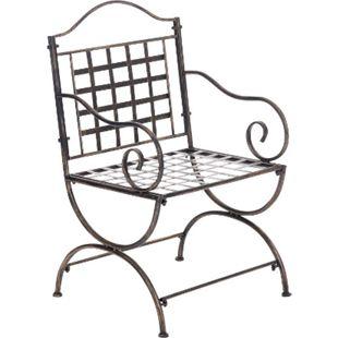 CLP Eisenstuhl Lotta im Jugendstil I Outdoor-Stuhl mit Armlehnen I Handgefertigter Gartenstuhl aus Eisen I In verschiedenen Farben erhältlich... bronze - Bild 1