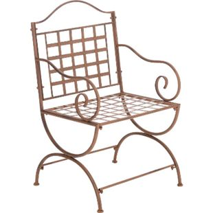 CLP Eisenstuhl Lotta im Jugendstil I Outdoor-Stuhl mit Armlehnen I Handgefertigter Gartenstuhl aus Eisen I In verschiedenen Farben erhältlich... antik braun - Bild 1