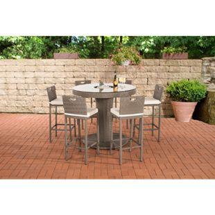 CLP Gartenbar Set Mari XL Aus Wetterbeständigem Polyrattan I Bartisch Mit Eingelassenem Edelstahlkübel Und 6 Stühlen... grau, Cremeweiß - Bild 1