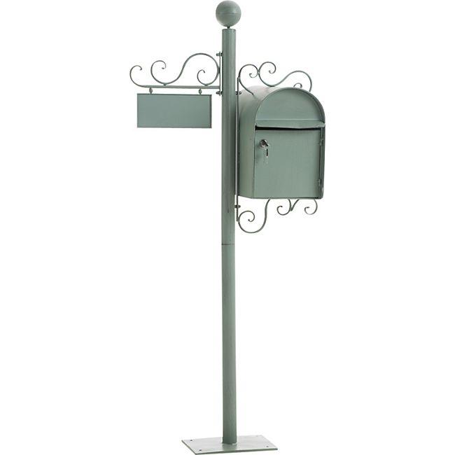 CLP Stand-Briefkasten CHARLIZE I Antiker freistehender Briefkasten mit Namensschild I Briefkasten aus Eisen I In verschiedenen Farben erhältlich... antik-grün - Bild 1