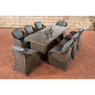 CLP Polyrattan Gartengarnitur LAVELLO XL I Sitzgruppe mit 8 Sitzplätzen I Pflegeleichte Gartenmöbel mit Aluminium-Gestell... braun-meliert, Eisengrau - Bild 1