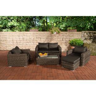 CLP Polyrattan-Lounge MADEIRA inklusive Polsterauflagen | Gartenmöbel-Set bestehend aus einem 2er-Sofa, zwei Sesseln einem Loungetisch und einem Hocker | In verschiedenen Farben erhältlich - Bild 1