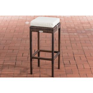 CLP Polyrattan Garten Barhocker Alia Mit Sitzkissen I Barstuhl Mit Aluminiumgestell I Sitzhöhe 75 cm, Sitzfläche 37 x 37 cm - Bild 1