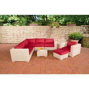 CLP Polyrattan Gartenlounge ARIANO inkl. Polsterauflagen | Garten-Set: ein Ecksofa, ein Sessel, ein Hocker und ein Loungetisch - Bild 1