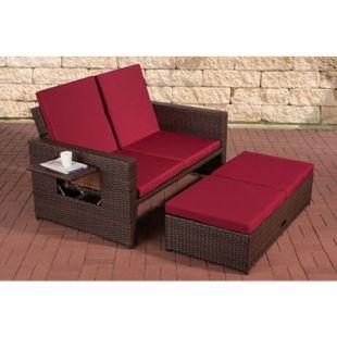 CLP Polyrattan 2er Loungesofa ANCONA I Flachrattan Garten-Sofa mit ausziehbarem Fußteil und verstellbarer Rückenlehne - Bild 1