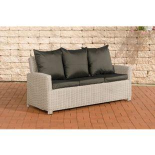 CLP Poly-Rattan 3er Sofa FISOLO aus Aluminium I Gartensofa für 3 Personen I Loungesofa mit Polsterkissen I 5mm Rattandicke... perlweiß, Anthrazit - Bild 1
