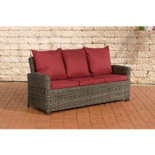 CLP Poly-Rattan 3er Sofa FISOLO aus Aluminium I Gartensofa für 3 Personen I Loungesofa mit Polsterkissen I 5mm Rattandicke... grau-meliert, Rubinrot - Bild 1