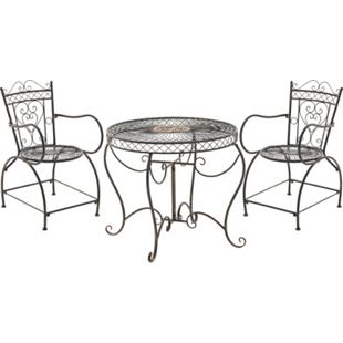 CLP Garten-Sitzgruppe Sheela I Garten-Set Aus Lackiertem Eisen: 1 Tisch Und 2 Stühle I Antike Gartenmöbel Im Jugendstil - Bild 1