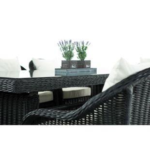 CLP Polyrattan Gartengarnitur LAVELLO XL I Sitzgruppe mit 8 Sitzplätzen I Pflegeleichte Gartenmöbel mit Aluminium-Gestell... schwarz, Cremeweiß - Bild 1